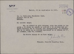 """Carta de Nicolás González Ruiz a Guillermo Fernández-Shaw, prometiéndole que publicará en la revista """"Letras"""" una fotografía, como éste desea."""