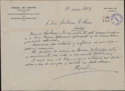 Carta de Miguel de Castro a Guillermo Fernández-Shaw, sobre cierto asunto en relación con el actor Pepe Romeu.