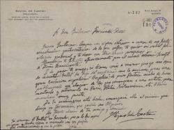 Carta de Miguel de Castro a Guillermo Fernández-Shaw, pidiéndole autorización para estrenar un ballet suyo por una bailarina argentina.