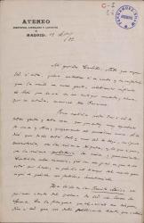 Cartas de Antonio Sánchez Moguel a Carlos Fernández Shaw.