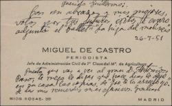 Tarjeta de visita de Miguel de Castro a Guillermo Fernández-Shaw, deseándole éxito y dándole varios avisos.