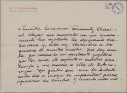 Carta de Víctor de la Serna a los hermanos Fernández-Shaw, dándoles el pésame por la muerte de su madre.