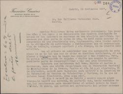 Carta de Francisco Casares a Guillermo Fernández-Shaw, manifestando su preocupación por la situación de pasividad en que se encuentra la Asociación de Amigos de los Quintero.
