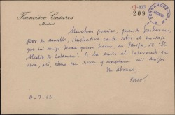 Tarjeta de Francisco Casares a Guillermo Fernández-Shaw, agradeciendo su ilustrativa carta sobre un montaje escénico.
