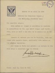 Carta de Juan Ignacio Luca de Tena a Guillermo Fernández-Shaw y Federico Romero, lamentando un retraso en la recepción de su autocrítica que ha impedido su publicación en ese día.
