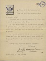 Carta de Juan Ignacio Luca de Tena a Guillermo Fernández-Shaw accediendo a una petición y disculpándose por no responder antes a una carta suya.