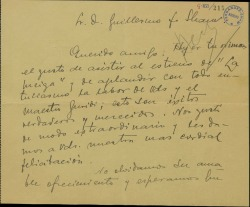 """Carta de Federico Galindo a Guillermo Fernández-Shaw, elogiando su obra """"La meiga"""", recientemente estrenada."""