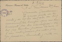 Tarjeta de Francisco Ramos de Castro a Guillermo Fernández-Shaw, acusando recibo de una carta y una cantidad de dinero de éste.