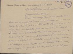 Carta de Francisco Ramos de Castro a Guillermo Fernández-Shaw, pidiéndole dinero prestado.