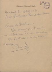 Carta de Francisco Ramos de Castro a Guillermo Fernández-Shaw, dando las gracias brevemente.