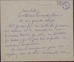 Carta de Fernando José de Larra a Guillermo Fernández-Shaw, agradeciendo un pésame.