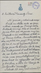 Carta de Mariano Sánchez de Palacios a Guillermo Fernández-Shaw, excusándose por no poder asistir a un acto.