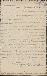 """Carta de Benigno Vega Inclán a Guillermo Fernández-Shaw, agradeciendo su carta y el envío de """"Doña Francisquita""""."""