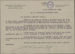 Carta de Antonio Velasco Zazo a Guillermo Fernández-Shaw, sobre la conferencia que éste deberá pronunciar en la Real Sociedad Económica Matritense.