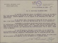 Carta de Antonio Velasco Zazo a Guillermo Fernández-Shaw, agradeciendo la información enviada sobre el tema a tratar en la conferencia que pronunciará en la Real Sociedad Económica Matritense.