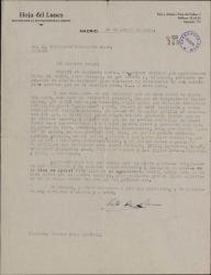 Carta de Víctor Ruiz Albéniz a Guillermo Fernández-Shaw, pidiendo su ayuda para encontrar material gráfico en relación con el Teatro Apolo.