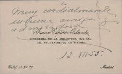 Tarjeta de visita de Luisa Espinós Orlando a Guillermo Fernández-Shaw, saludándole.