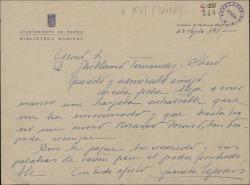 Carta de Luisa Espinós Orlando a Guillermo Fernández-Shaw, agradeciéndole el recuerdo para su padre, Víctor Espinós.