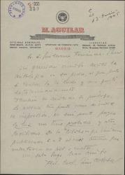 Carta de Federico Carlos Sainz de Robles a Guillermo Fernández-Shaw, diciéndole que ha recibido la antología de poesía de su padre, que le ha gustado extraordinariamente.