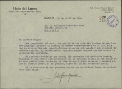 """Carta de Pedro Gómez Aparicio a Guillermo Fernández-Shaw, pidiéndole un artículo para la """"Hoja del Lunes""""."""