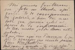 Tarjeta postal de Víctor Espinós a Guillermo Fernández-Shaw, remitiéndole una fotografía.