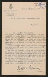 Carta de Víctor Espinós a Guillermo Fernández-Shaw, agradeciéndole a él y a Federico Romero el envío de sus obras con destino a una Biblioteca Circulante Municipal.