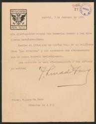 """Carta de Torcuato Luca de Tena a Guillermo Fernández-Shaw y Federico Romero, acusando el recibo del libro """"Las Alondras"""" que le han dedicado."""