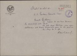 Carta de Francisco Casares a Guillermo Fernández-Shaw, acusando recibo de su carta y teniéndola en cuenta para próximas oportunidades.