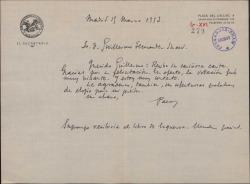 Carta de Francisco Casares a Guillermo Fernández-Shaw, agradeciendo su felicitación por su triunfo en una votación.