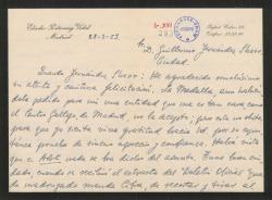 Carta de Eladio Portasany a Guillermo Fernández-Shaw, agradeciendo su cariñosa felicitación por un premio que le han concedido.