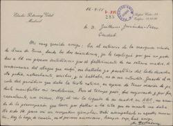 Carta de Eladio Portasany a Guillermo Fernández-Shaw, dándole el pésame, aunque con retraso, por la muerte de su madre.