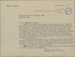 Carta de Rafael Salazar a Guillermo Fernández-Shaw, agradeciendo sus atenciones y su carta y felicitándole por un artículo periodístico que ha sido premiado.