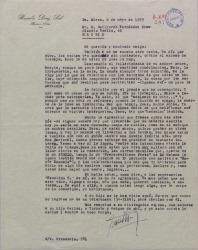 Carta de Braulio Díaz Sal a Guillermo Fernández-Shaw, dándole el pésame por la muerte de su madre y hablando de estrenos, corresponsalías y otras actividades profesionales de ambos.