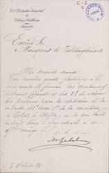 Cartas de Mariano Catalina al Marqués de Valdeiglesias.