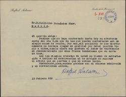 Carta de Rafael Salazar a Guillermo Fernández-Shaw, agradeciendo sus elogios y sus frases bondadosas.