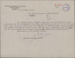 Carta de Antonio Fernández-Cid de Temes a Guillermo Fernández-Shaw, felicitándole por su nombramiento como Director General de la Sociedad General de Autores de España y hablando de otros temas.