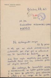 Carta de Miguel Martín García a Guillermo Fernández-Shaw, felicitándole por su nombramiento como Director de la Sociedad General de Autores de España.