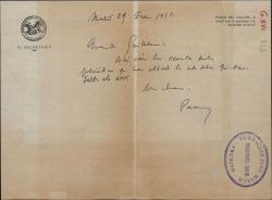 Carta de Francisco Casares a Guillermo Fernández-Shaw, enviándole unos recortes de prensa.