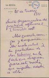 Carta de Ramón de Cárdenas a los organizadores del homenaje al General Iturralde, expresando su adhesión al mismo.
