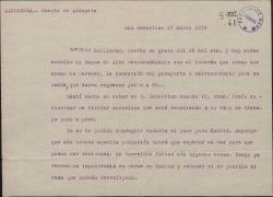 Carta del Marqués de Valdeiglesias, a Guillermo Fernández-Shaw comunicándole que ha hecho gestiones a favor de su petición de un salvoconducto para su madre Cecilia Iturralde.