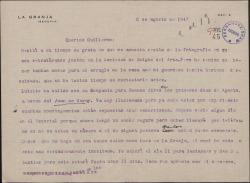 Carta del Marqués de Valdeiglesias a Guillermo Fernández-Shaw, sobre varios asuntos personales.