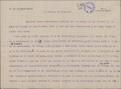 Carta del Marqués de Valdeiglesias a Guillermo Fernández-Shaw, anunciándole su visita en El Escorial.