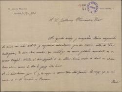"""Carta de Mariano Marfil a Guillermo Fernández-Shaw, dándole la enhorabuena por el éxito de """"La chulapona""""."""