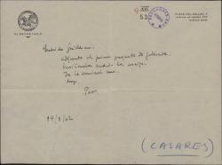Nota de Francisco Casares a Guillermo Fernández-Shaw, enviándole unas galeradas para corregir.