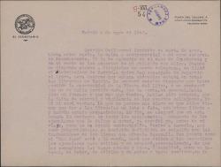 Carta de Francisco Casares a Guillermo Fernández-Shaw, sobre la edición de un libro de éste.