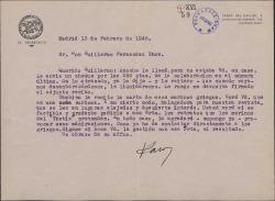 Carta de Francisco Casares a Guillermo Fernández-Shaw, enviándole un cheque por su colaboración periodística y una carta de unos marinos griegos con una petición.