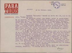 """Carta de Francisco Casares a Guillermo Fernández-Shaw, transmitiéndole su propósito de continuidad para la revista """"Para Todos""""."""