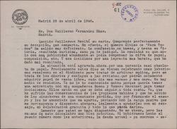 """Carta de Francisco Casares a Guillermo Fernández-Shaw, reconociendo las deficiencias de la revista """"Para Todos"""", que considera definitivamente fracasada."""