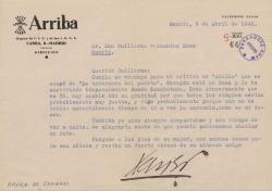 """Carta de Xavier de Echarri a Guillermo Fernández-Shaw, cumpliendo su encargo respecto a una crítica de """"La tabernera del puerto""""."""