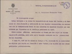 Carta de Fernando José de Larra a Guillermo Fernández-Shaw, rogándole que repita una antigua donación suya al Museo del Teatro, desaparecida durante la Guerra Civil.